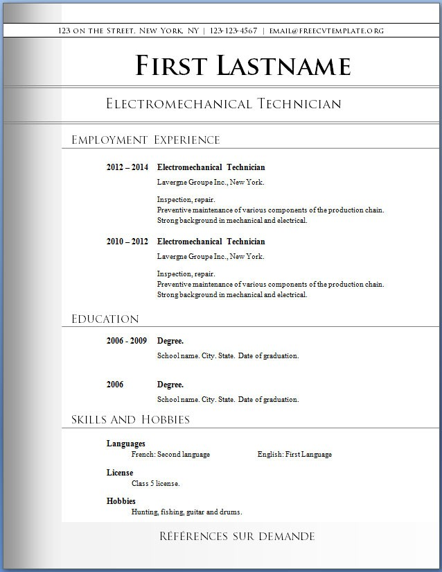 best format for resume template