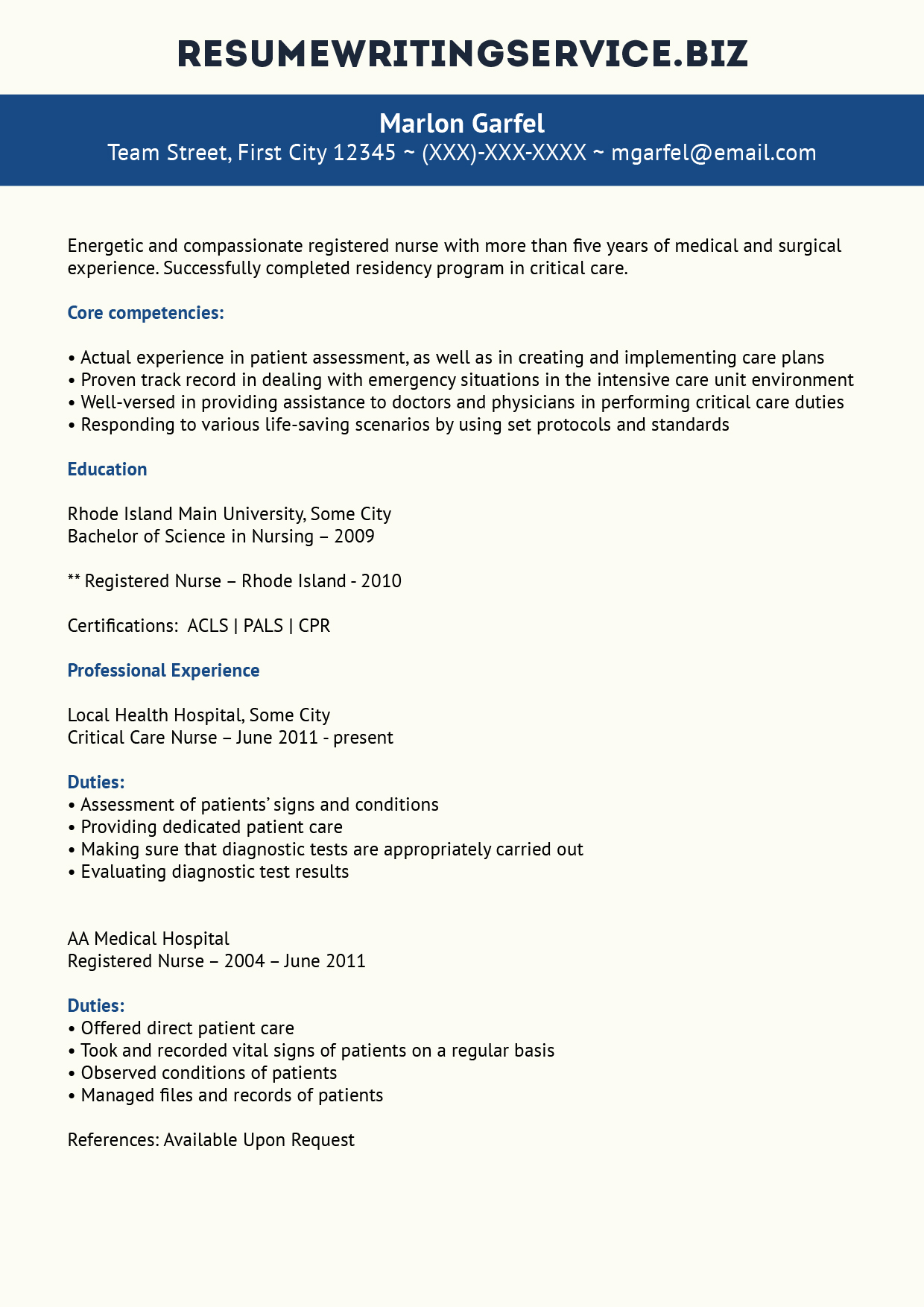 Quality Critical Care Nurse Resume Resume Writing Service