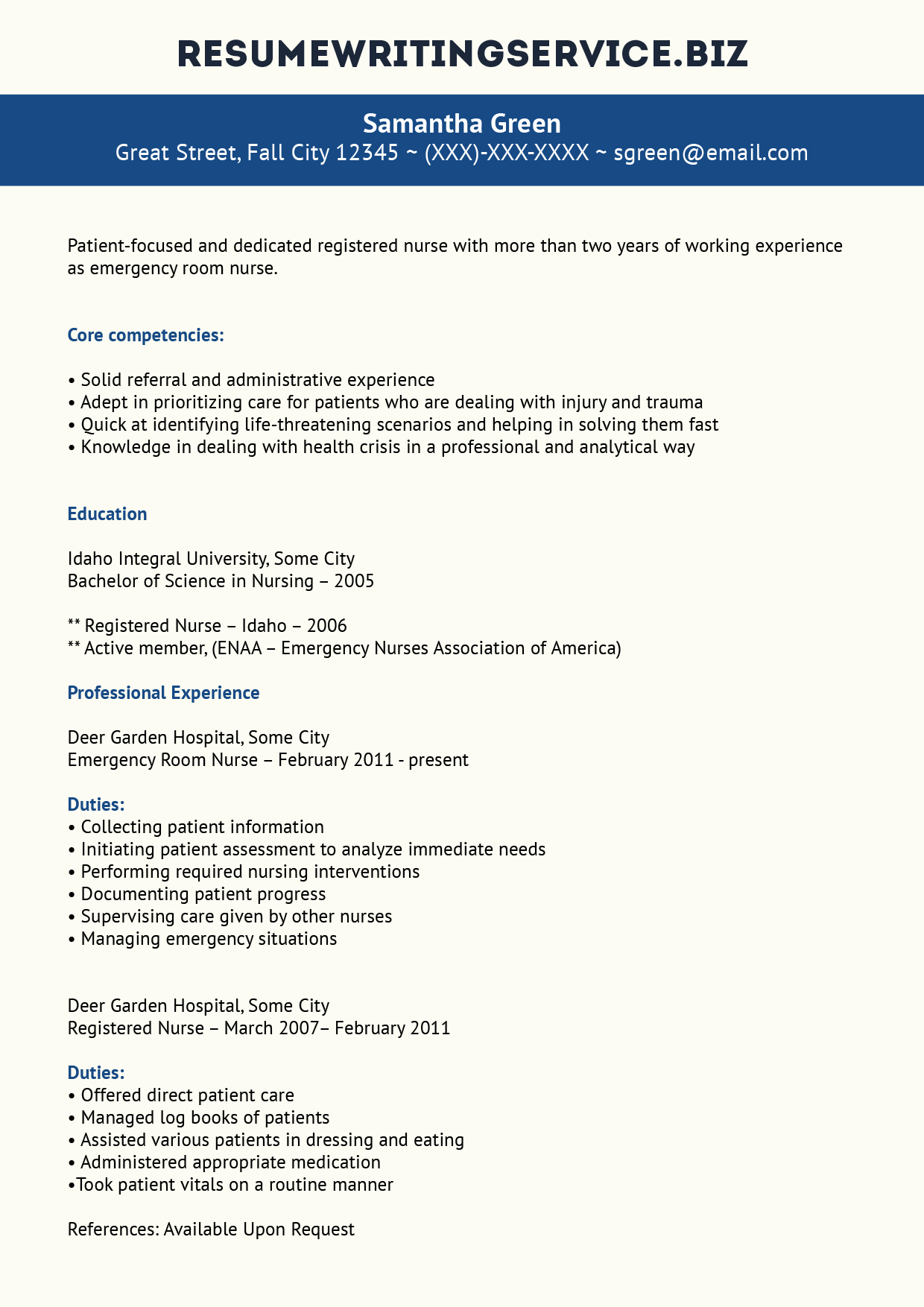 Home Health Registered Nurse Resume