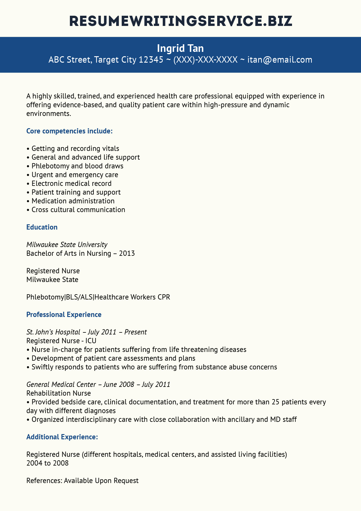Our Experienced Nurse Resume Example Resume Writing Service
