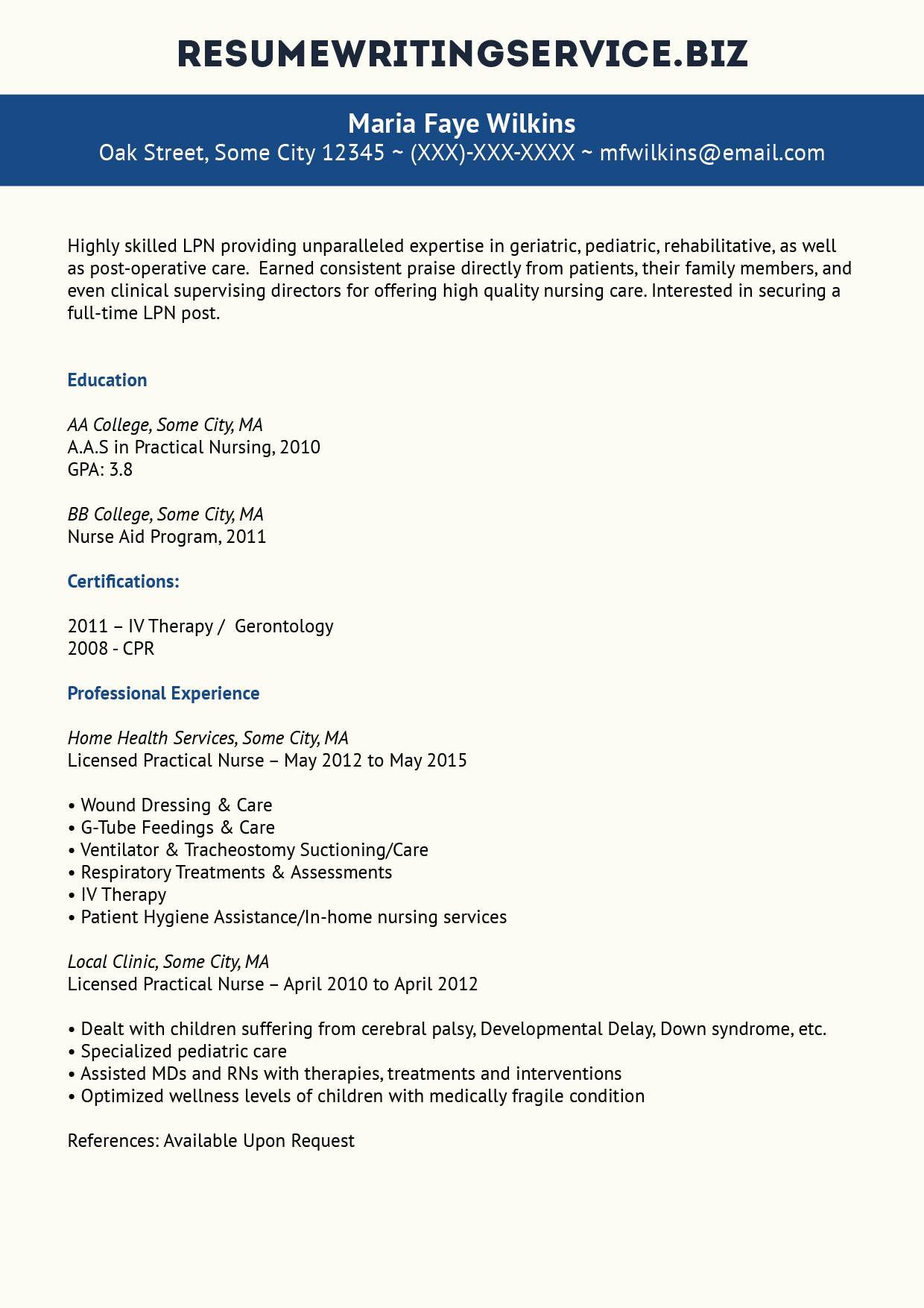 Top Quality Lpn Resume Sample
