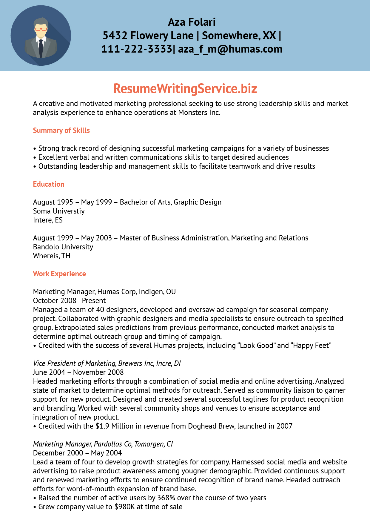 marketing manager  associate marketing manager resume sample