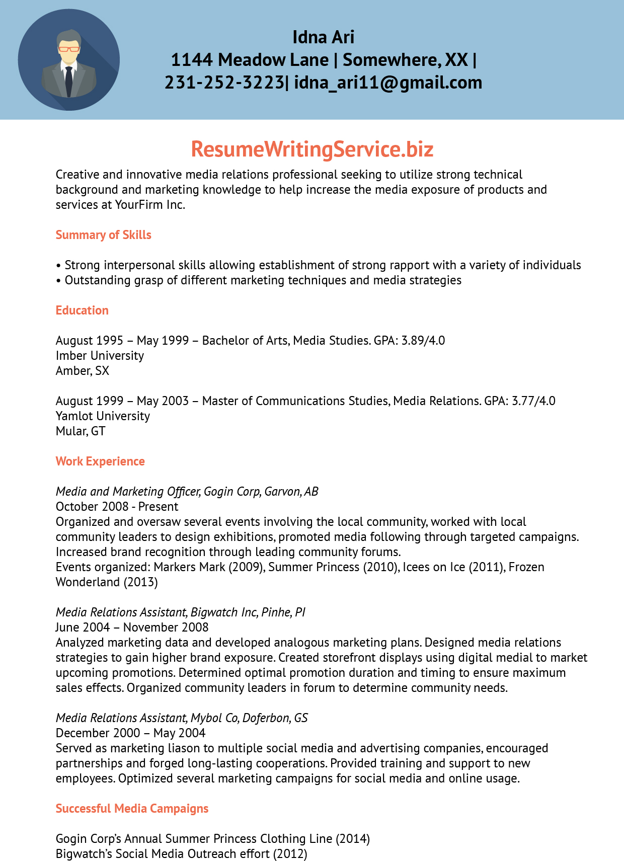 media relations officer resume sample