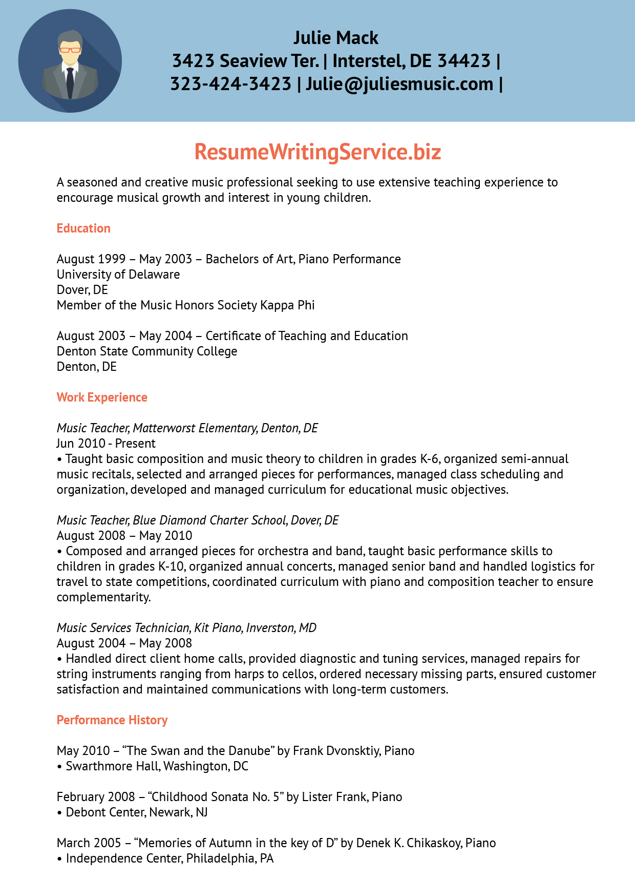Resume Writing Service  Piano Teacher Resume