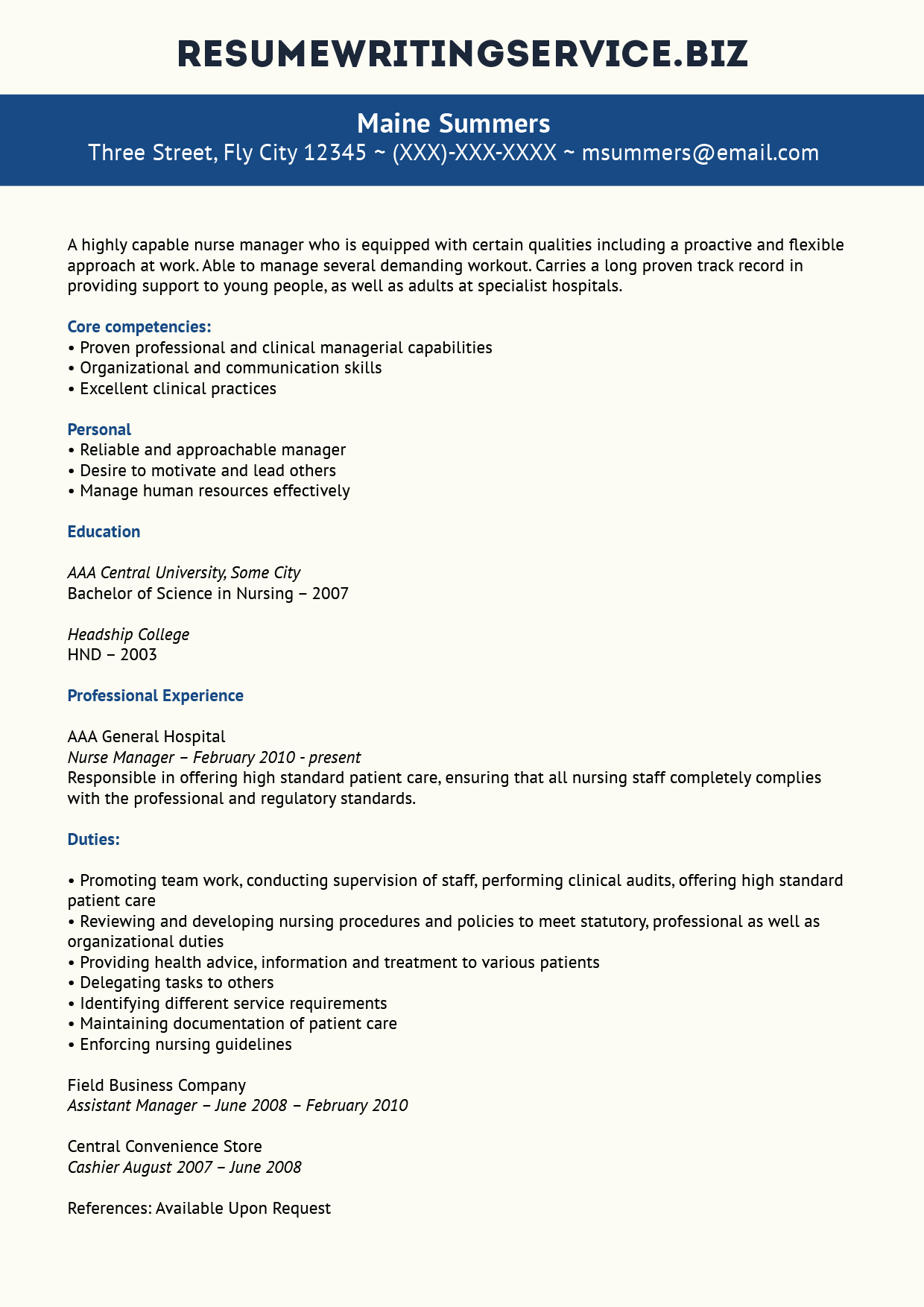 unrivalled nurse manager resume example