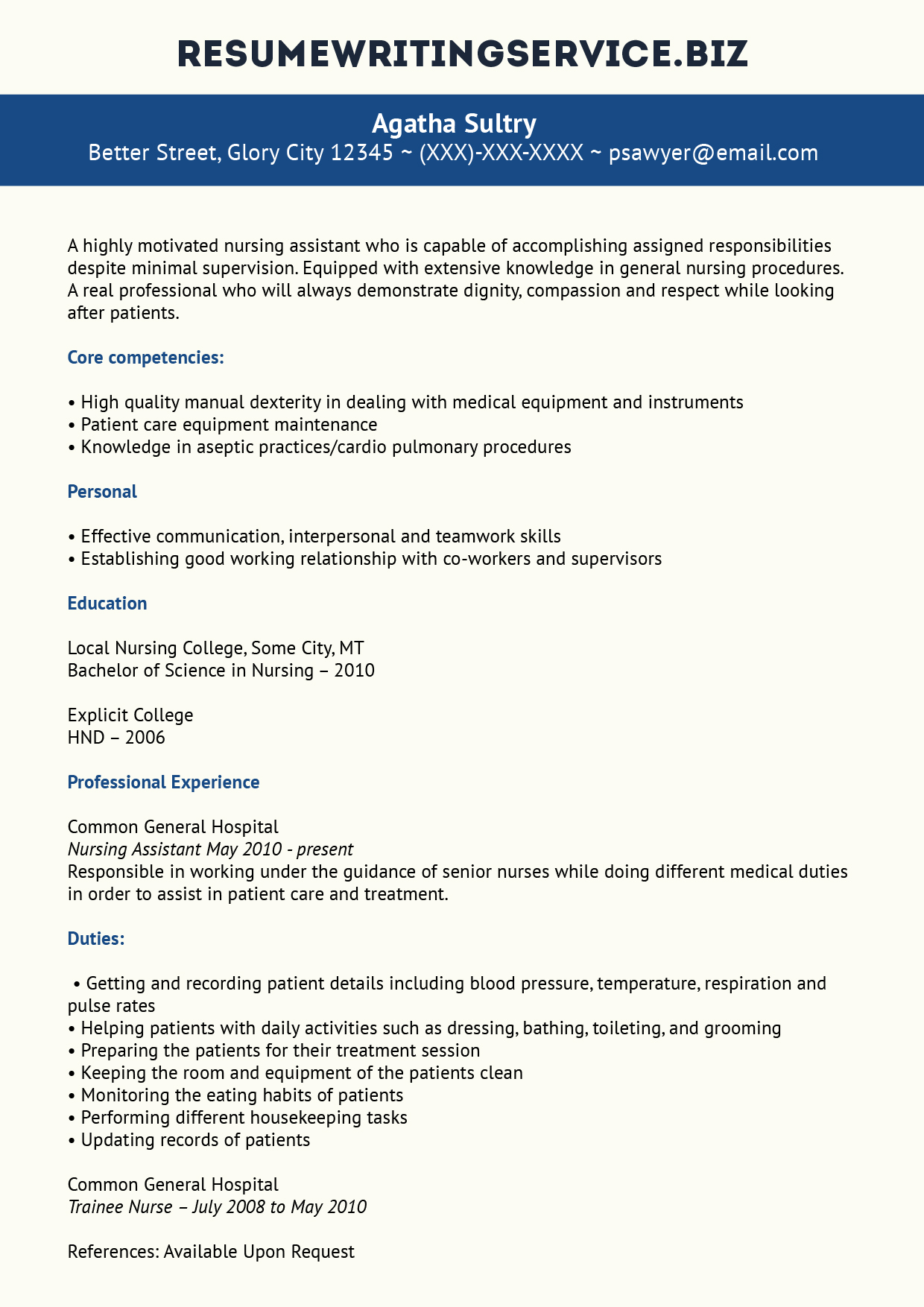 professional nursing assistant resume example resume writing service