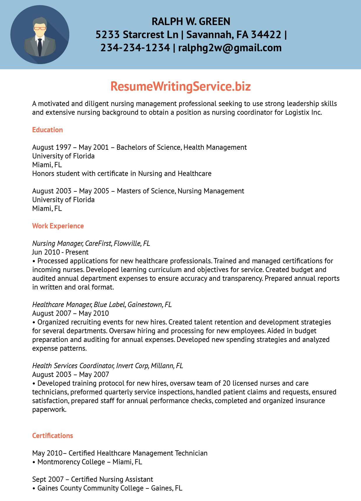 Nursing Program Coordinator Resume Sample