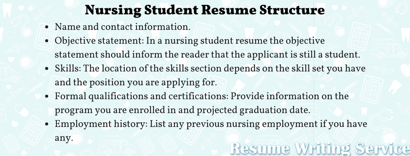 nursing student resume structure