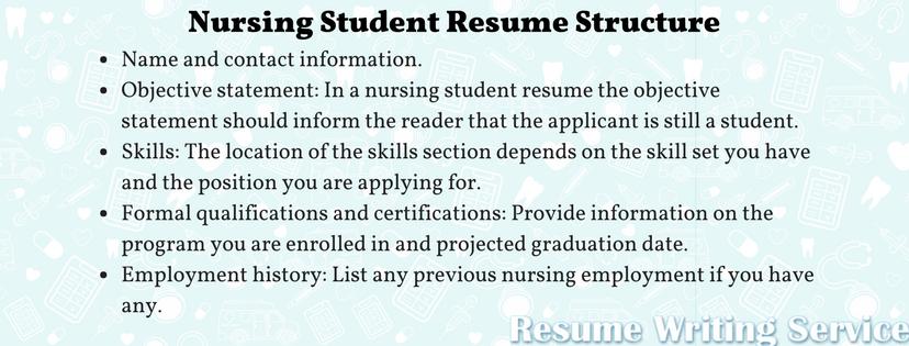 nursing student resume structure