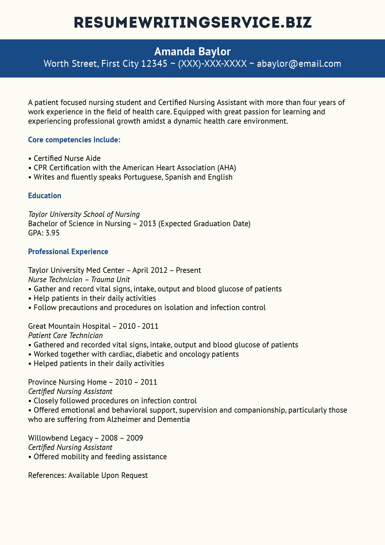 Great Nursing Student Resume Sample Resume Writing Service