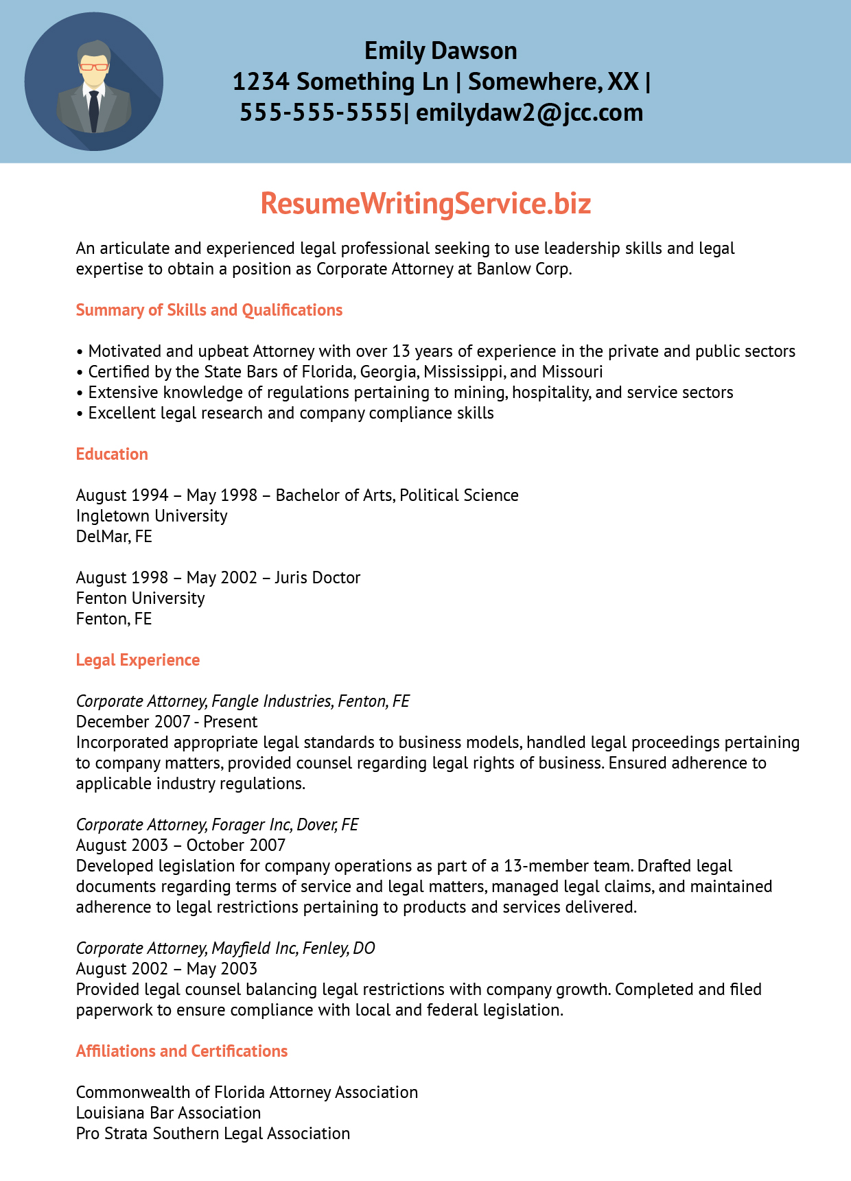 professional lawyer resume sample