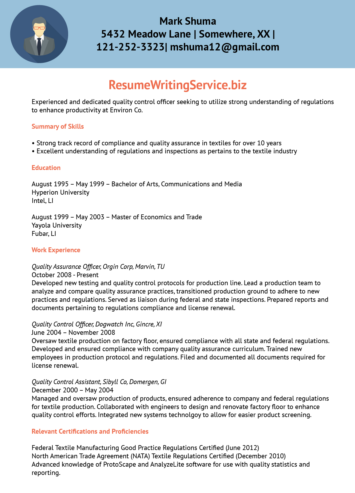 Quality Control Officer Resume