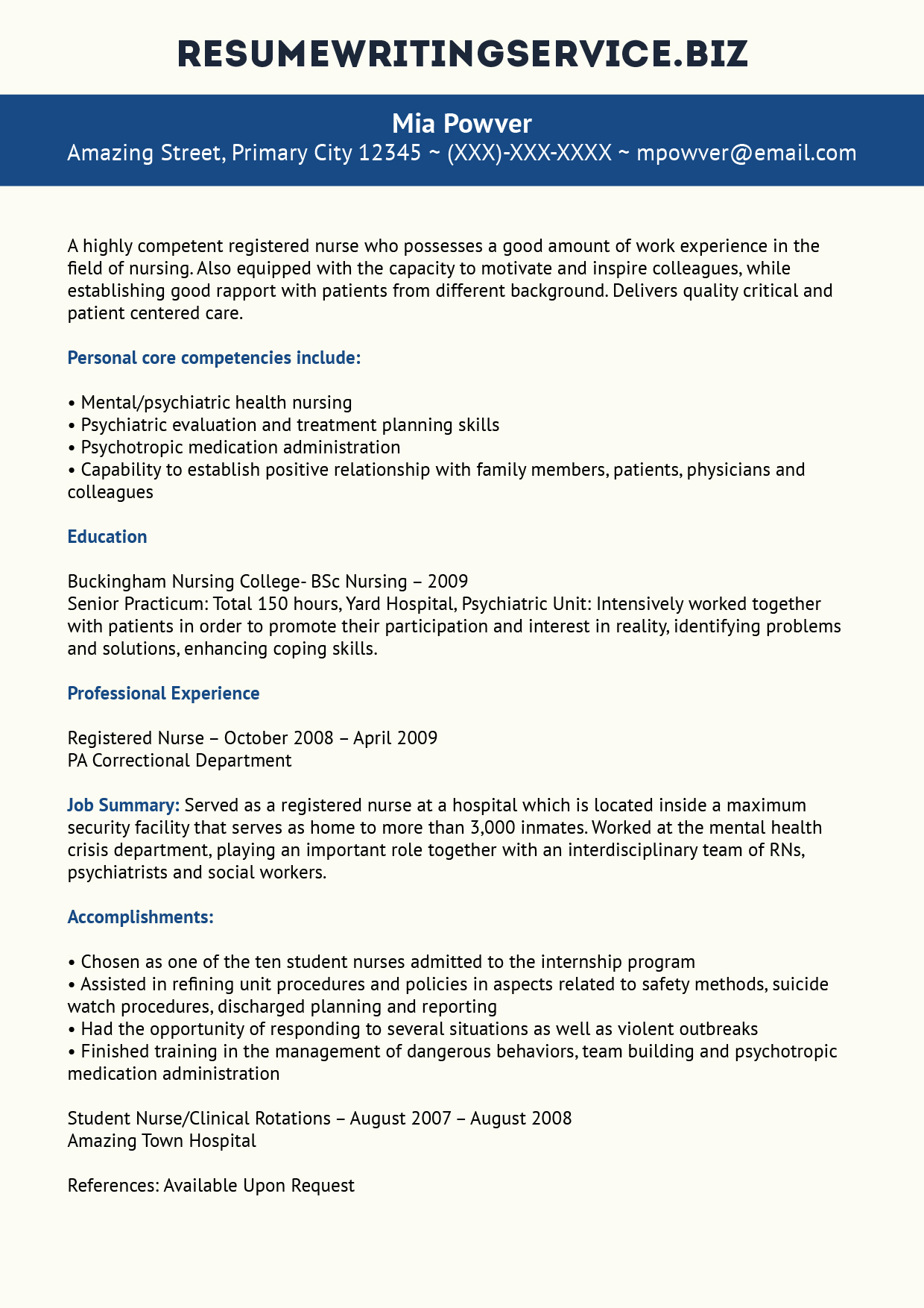 careerperfect healthcare nursing sample resume