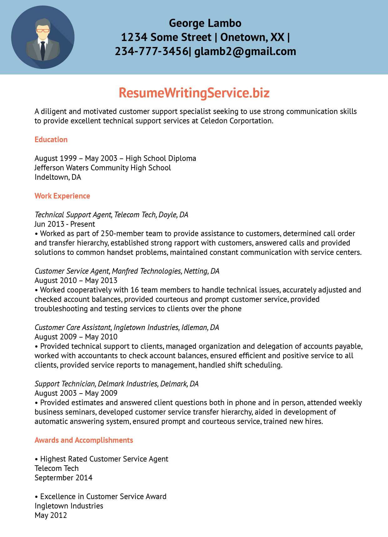 Technical Support Agent Resume Sample