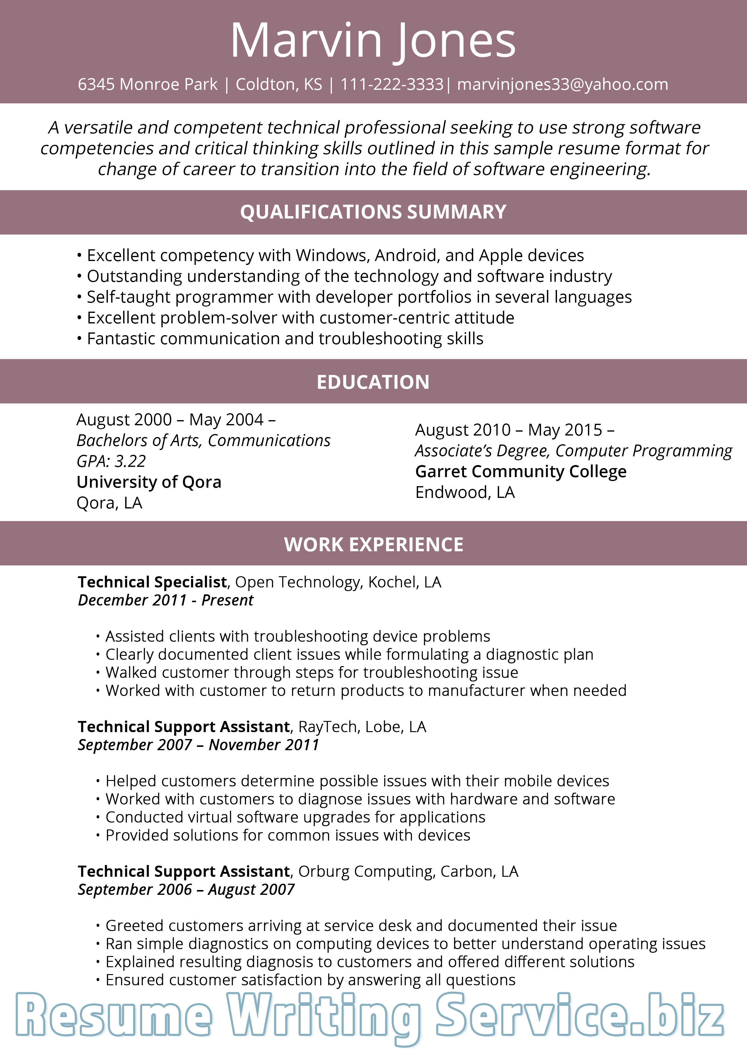 career change resume format 2019