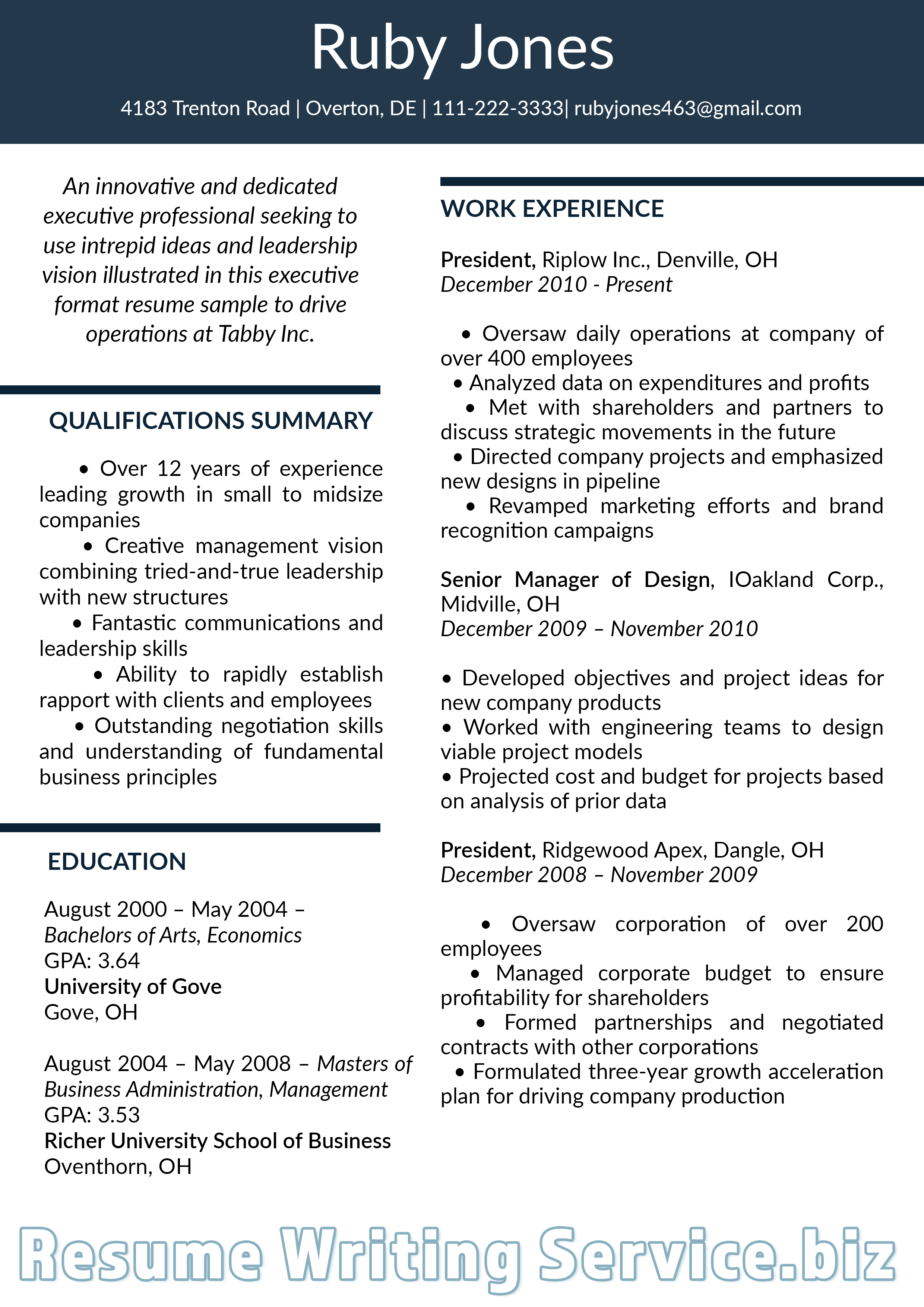 executive resume format 2019 sample