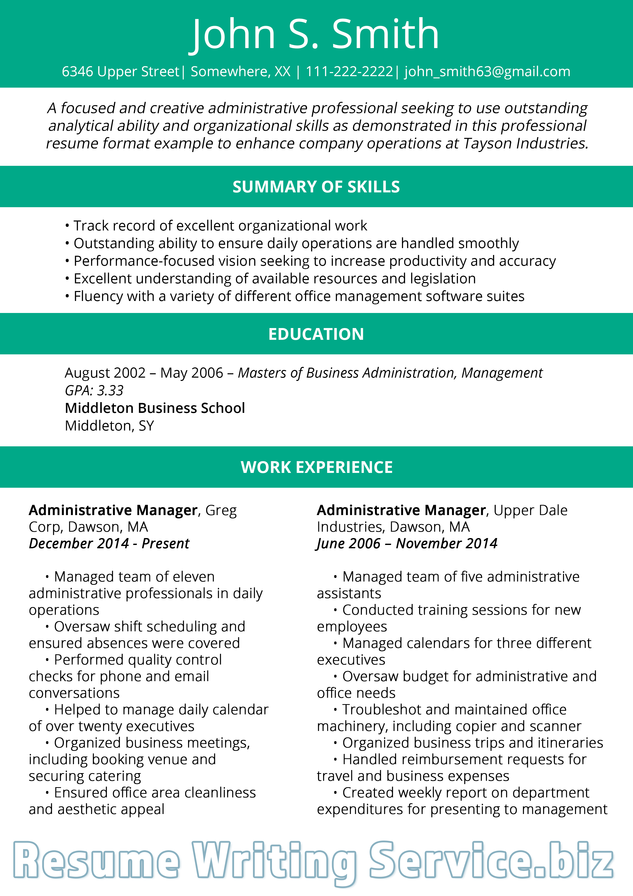 professional resume format 2019 sample