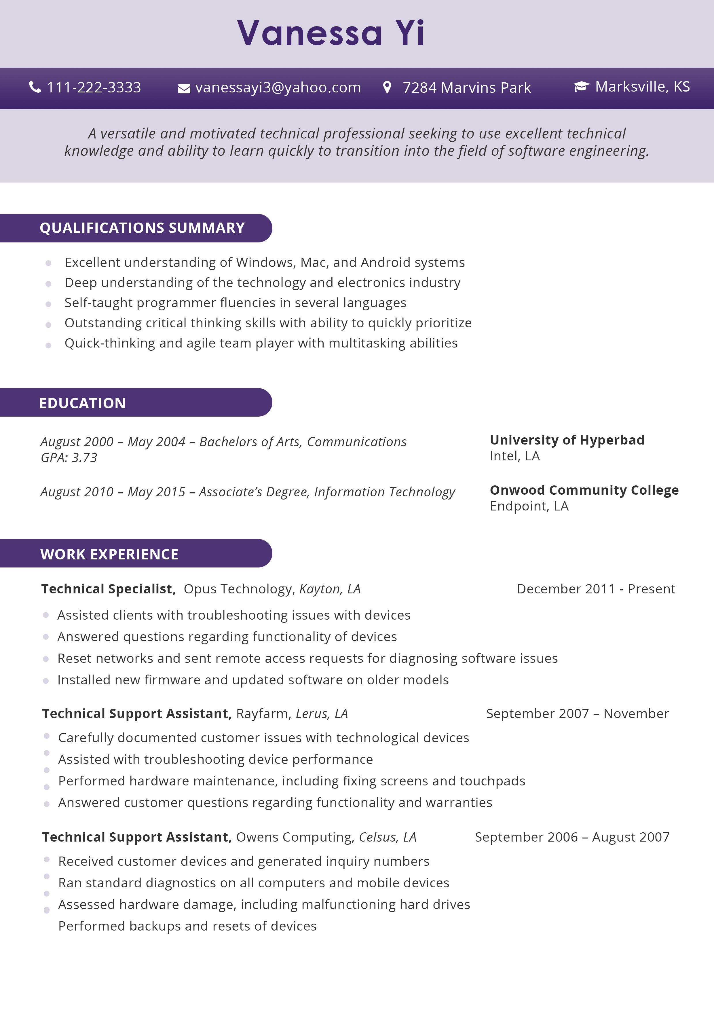 career change resume format