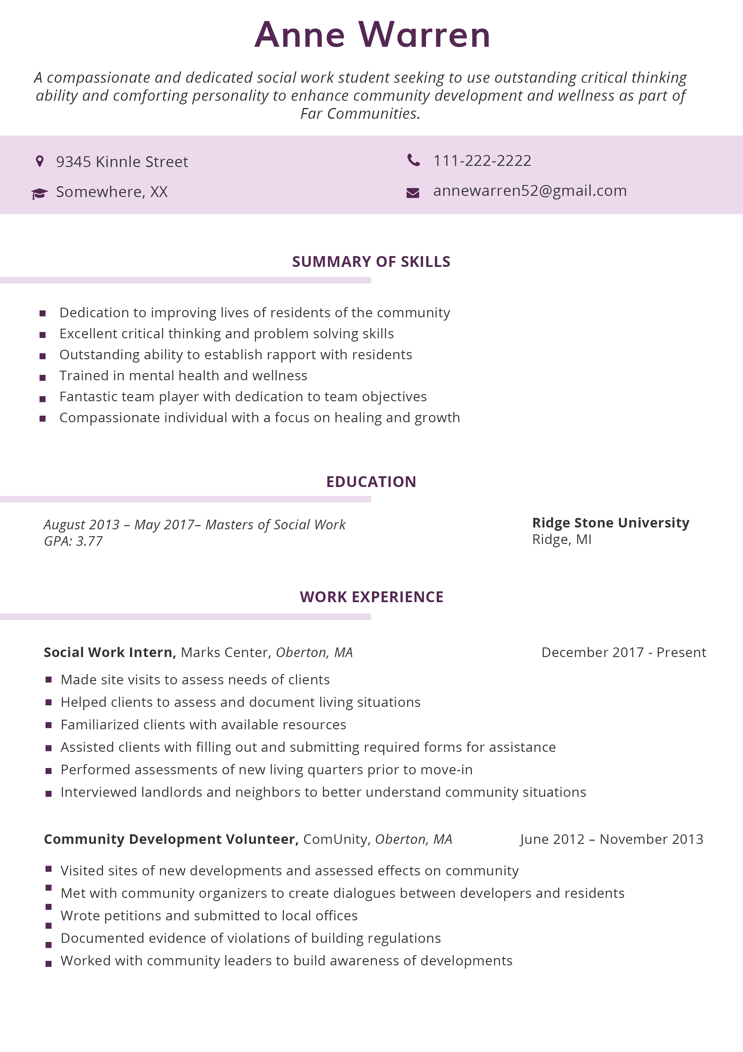 combination resume format