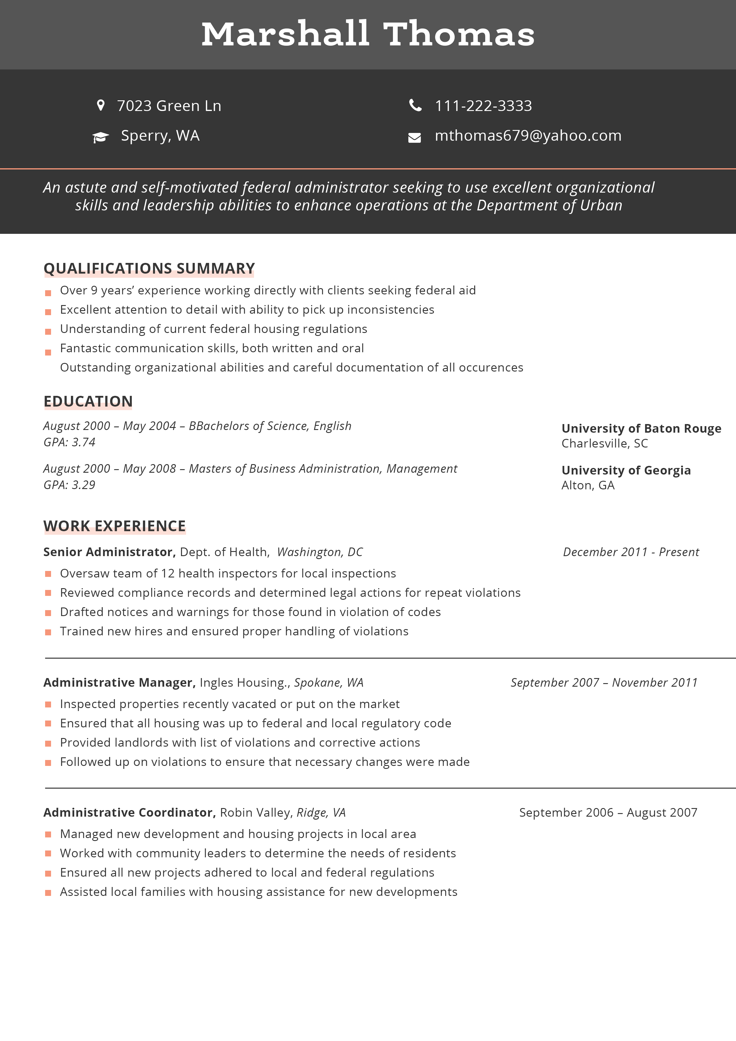 federal level resume format