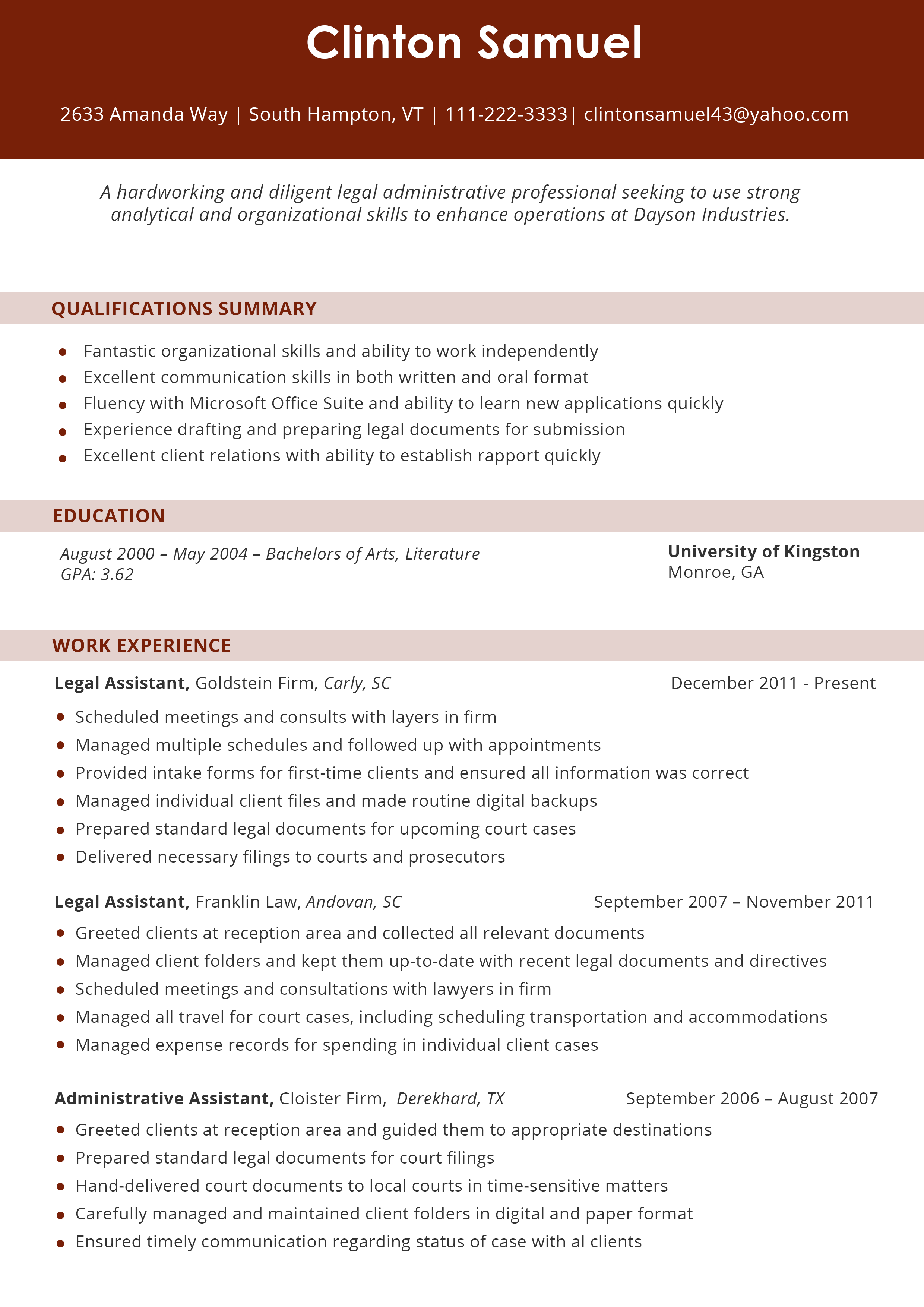legal resume format